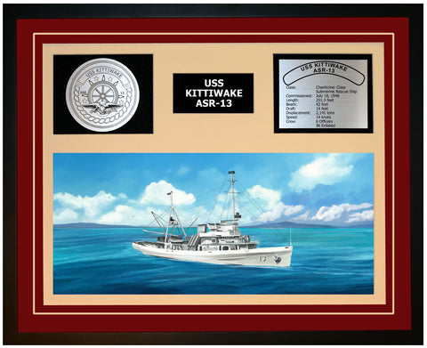 USS KITTIWAKE ASR-13 Framed Navy Ship Display Burgundy