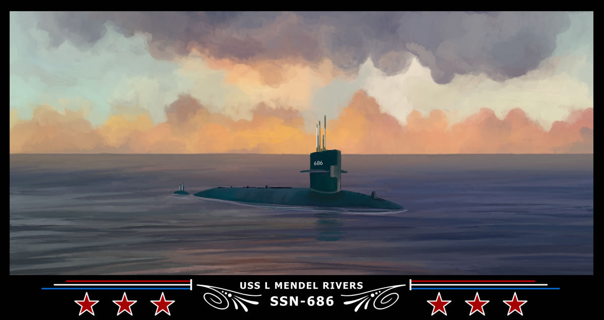 USS L Mendel Rivers SSN-686 Art Print
