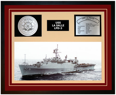 USS LA SALLE LPD-3 Framed Navy Ship Display Burgundy