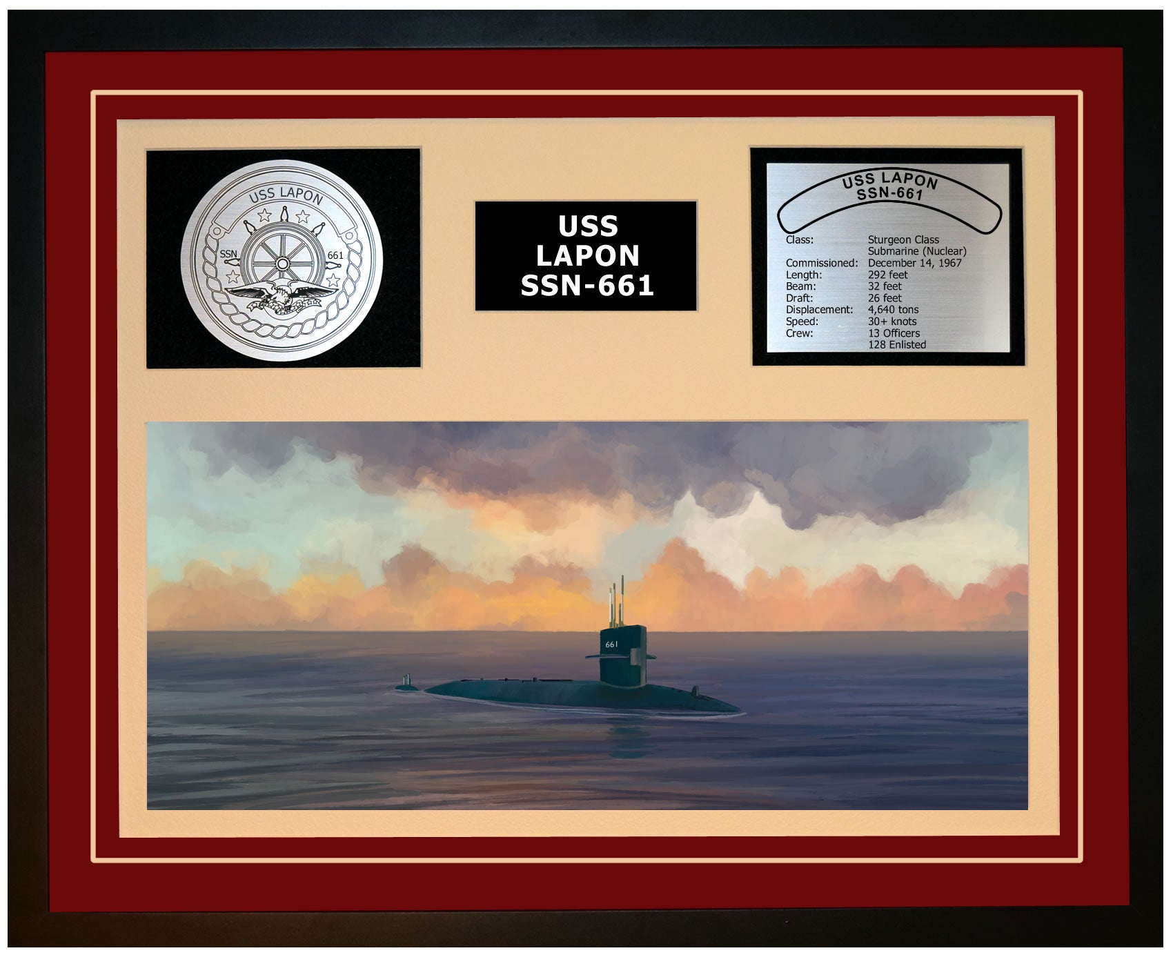 USS LAPON SSN-661 Framed Navy Ship Display Burgundy