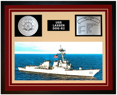 USS LASSEN DDG-82 Framed Navy Ship Display Burgundy