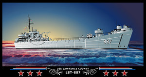 USS Lawrence County LST-887 Art Print