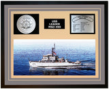 USS LEADER MSO-490 Framed Navy Ship Display Grey