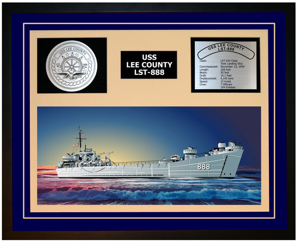 USS LEE COUNTY LST-888 Framed Navy Ship Display Blue