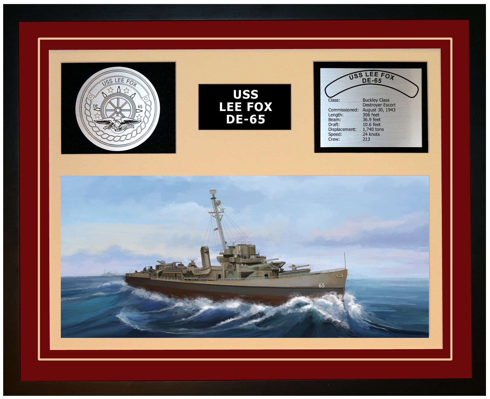USS LEE FOX DE-65 Framed Navy Ship Display Burgundy