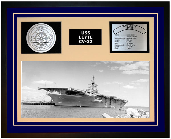 USS LEYTE CV-32 Framed Navy Ship Display Blue