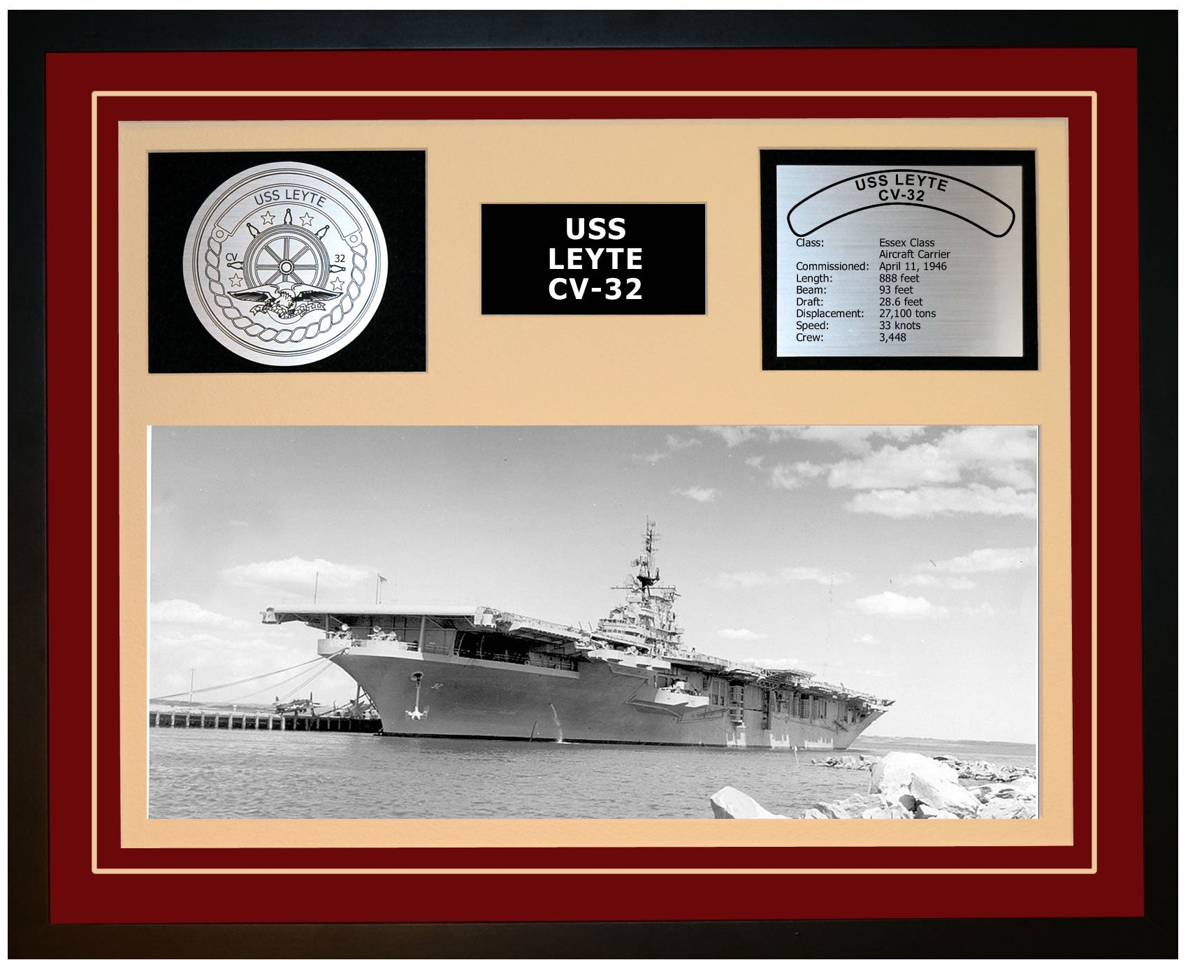 USS LEYTE CV-32 Framed Navy Ship Display Burgundy