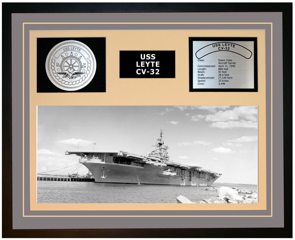 USS LEYTE CV-32 Framed Navy Ship Display Grey