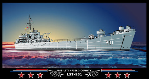 USS Litchfield County LST-901 Art Print