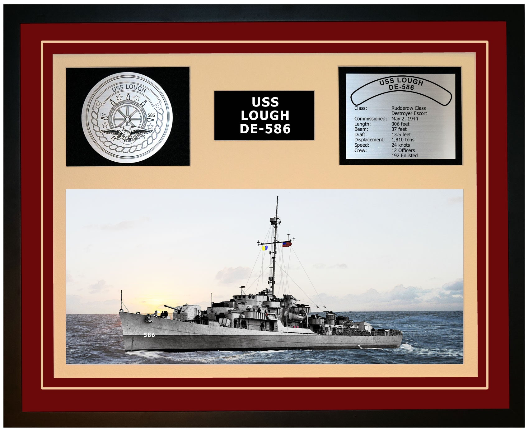 USS LOUGH DE-586 Framed Navy Ship Display Burgundy