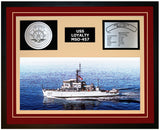 USS LOYALTY MSO-457 Framed Navy Ship Display Burgundy