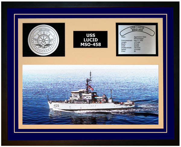 USS LUCID MSO-458 Framed Navy Ship Display Blue
