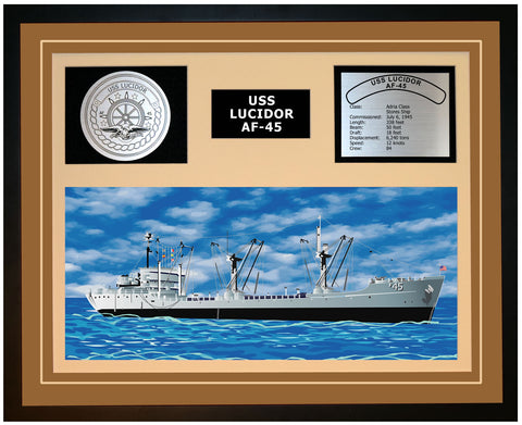 USS LUCIDOR AF-45 Framed Navy Ship Display Burgundy