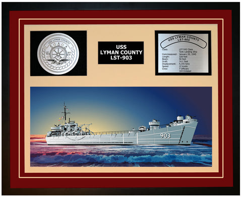 USS LYMAN COUNTY LST-903 Framed Navy Ship Display Burgundy