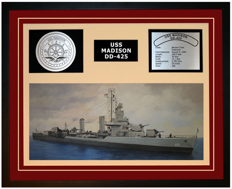 USS MADISON DD-425 Framed Navy Ship Display Burgundy