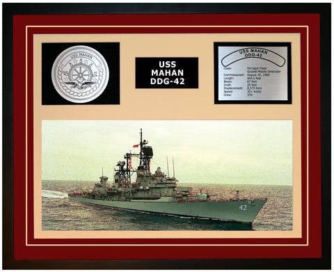USS MAHAN DDG-42 Framed Navy Ship Display Burgundy