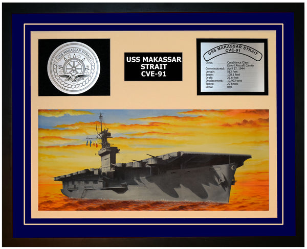 USS MAKASSAR STRAIT CVE-91 Framed Navy Ship Display Blue