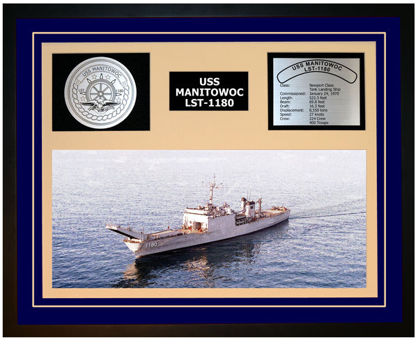 USS MANITOWOC LST-1180 Framed Navy Ship Display Blue