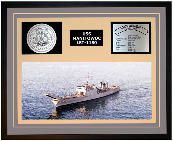 USS MANITOWOC LST-1180 Framed Navy Ship Display Grey