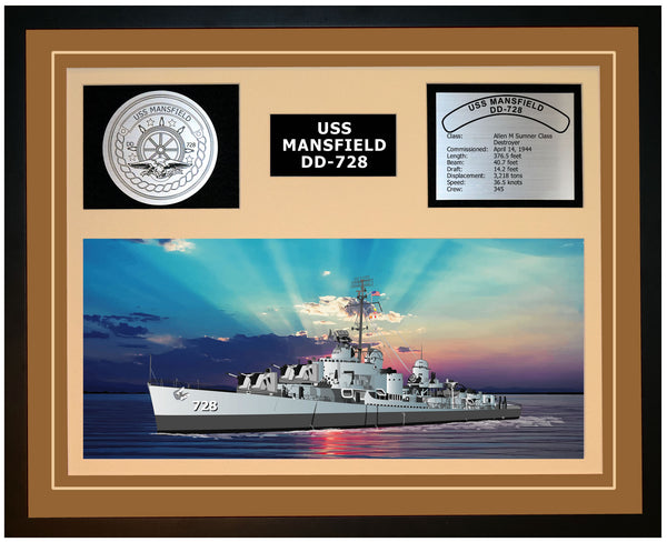 USS MANSFIELD DD-728 Framed Navy Ship Display Brown