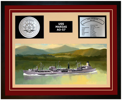 USS MARIAS AO-57 Framed Navy Ship Display Burgundy