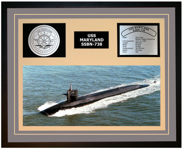 USS MARYLAND SSBN-738 Framed Navy Ship Display Grey
