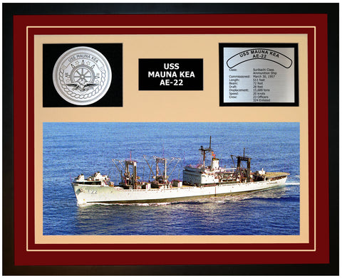 USS MAUNA KEA AE-22 Framed Navy Ship Display Burgundy
