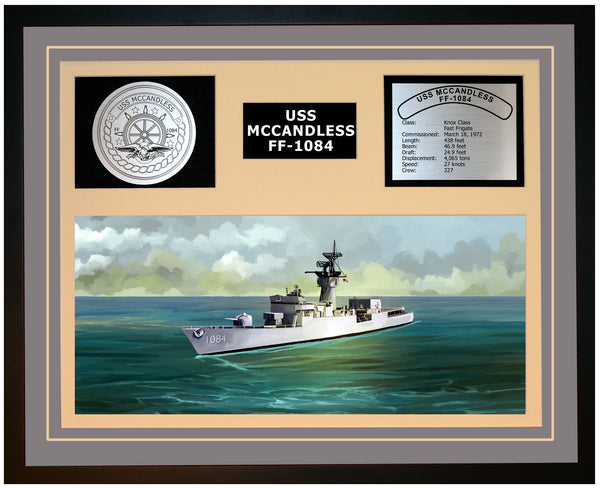 USS MCCANDLESS FF-1084 Framed Navy Ship Display Grey