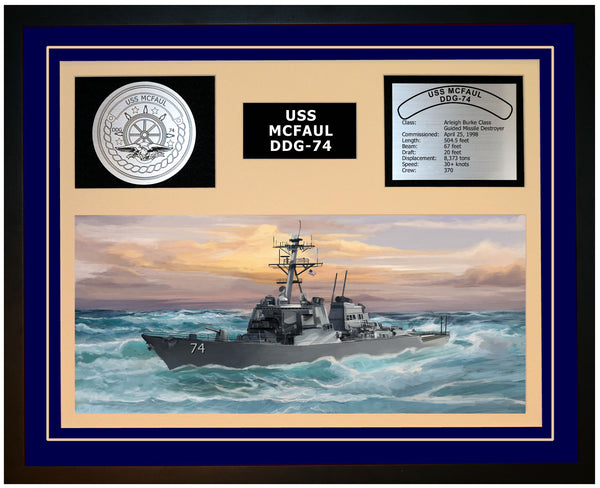 USS MCFAUL DDG-74 Framed Navy Ship Display Blue