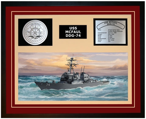 USS MCFAUL DDG-74 Framed Navy Ship Display Burgundy