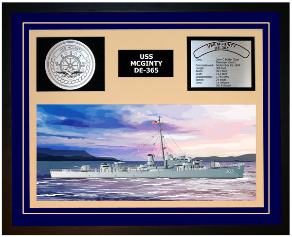 USS MCGINTY DE-365 Framed Navy Ship Display Blue