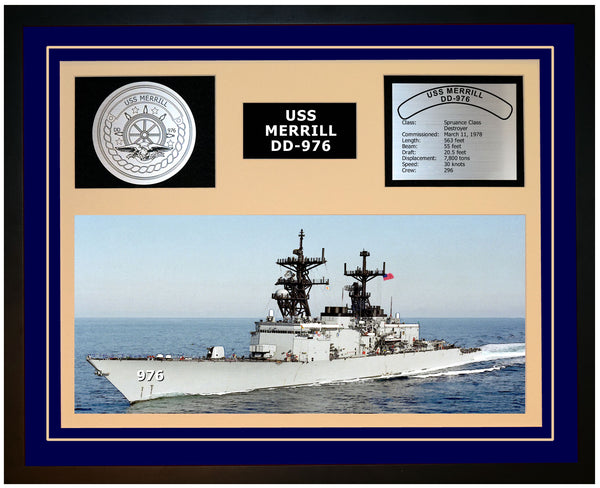 USS MERRILL DD-976 Framed Navy Ship Display Blue