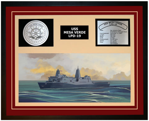 USS MESA VERDE LPD-19 Framed Navy Ship Display Burgundy
