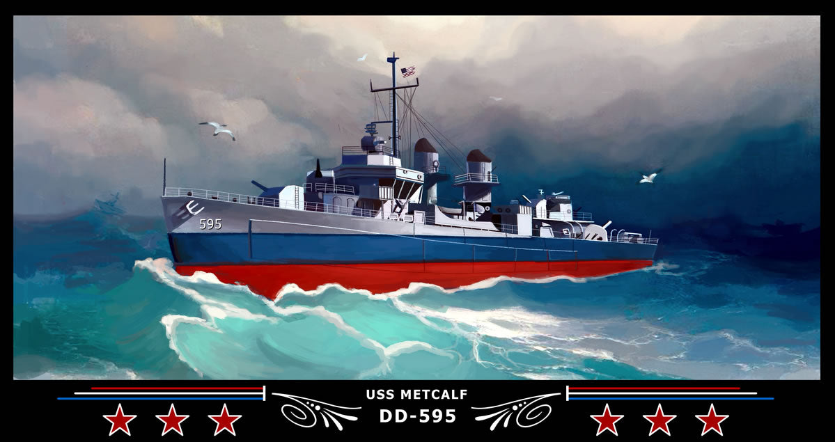 USS Metcalf DD-595 Art Print
