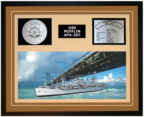 USS MIFFLIN APA-207 Framed Navy Ship Display Brown