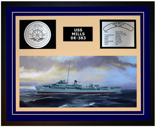 USS MILLS DE-383 Framed Navy Ship Display Blue