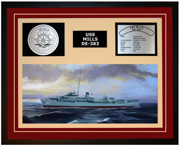 USS MILLS DE-383 Framed Navy Ship Display Burgundy