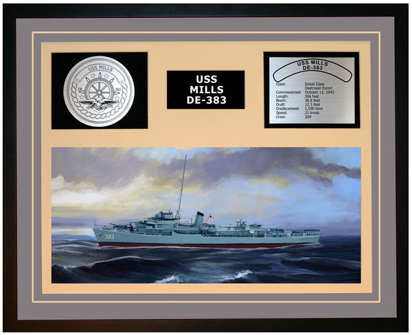 USS MILLS DE-383 Framed Navy Ship Display Grey