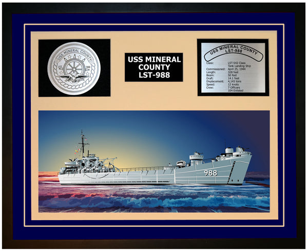 USS MINERAL COUNTY LST-988 Framed Navy Ship Display Blue