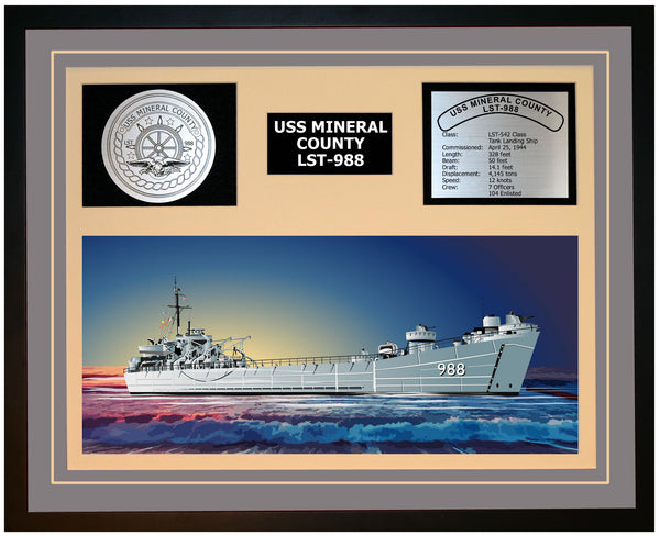 USS MINERAL COUNTY LST-988 Framed Navy Ship Display Grey