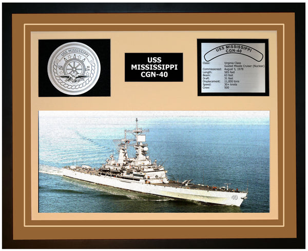 USS MISSISSIPPI CGN-40 Framed Navy Ship Display Brown