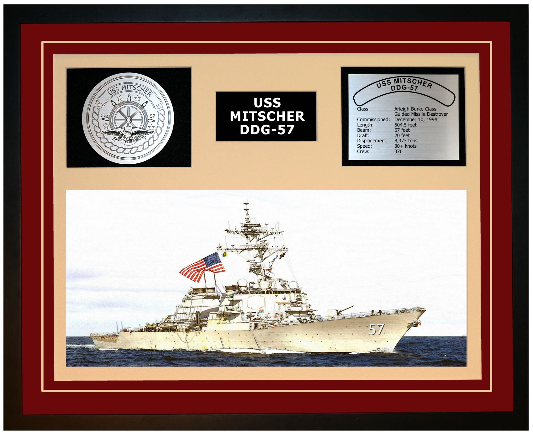 USS MITSCHER DDG-57 Framed Navy Ship Display Burgundy