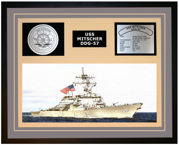 USS MITSCHER DDG-57 Framed Navy Ship Display Grey