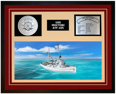 USS MOCTOBI ATF-105 Framed Navy Ship Display Burgundy