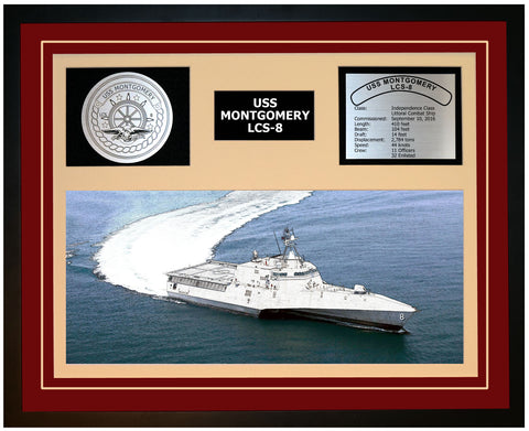 USS MONTGOMERY LCS-8 Framed Navy Ship Display Burgundy