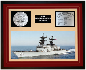 USS MOOSBRUGGER DD-980 Framed Navy Ship Display Burgundy