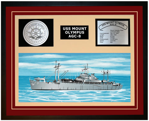 USS MOUNT OLYMPUS AGC-8 Framed Navy Ship Display Burgundy