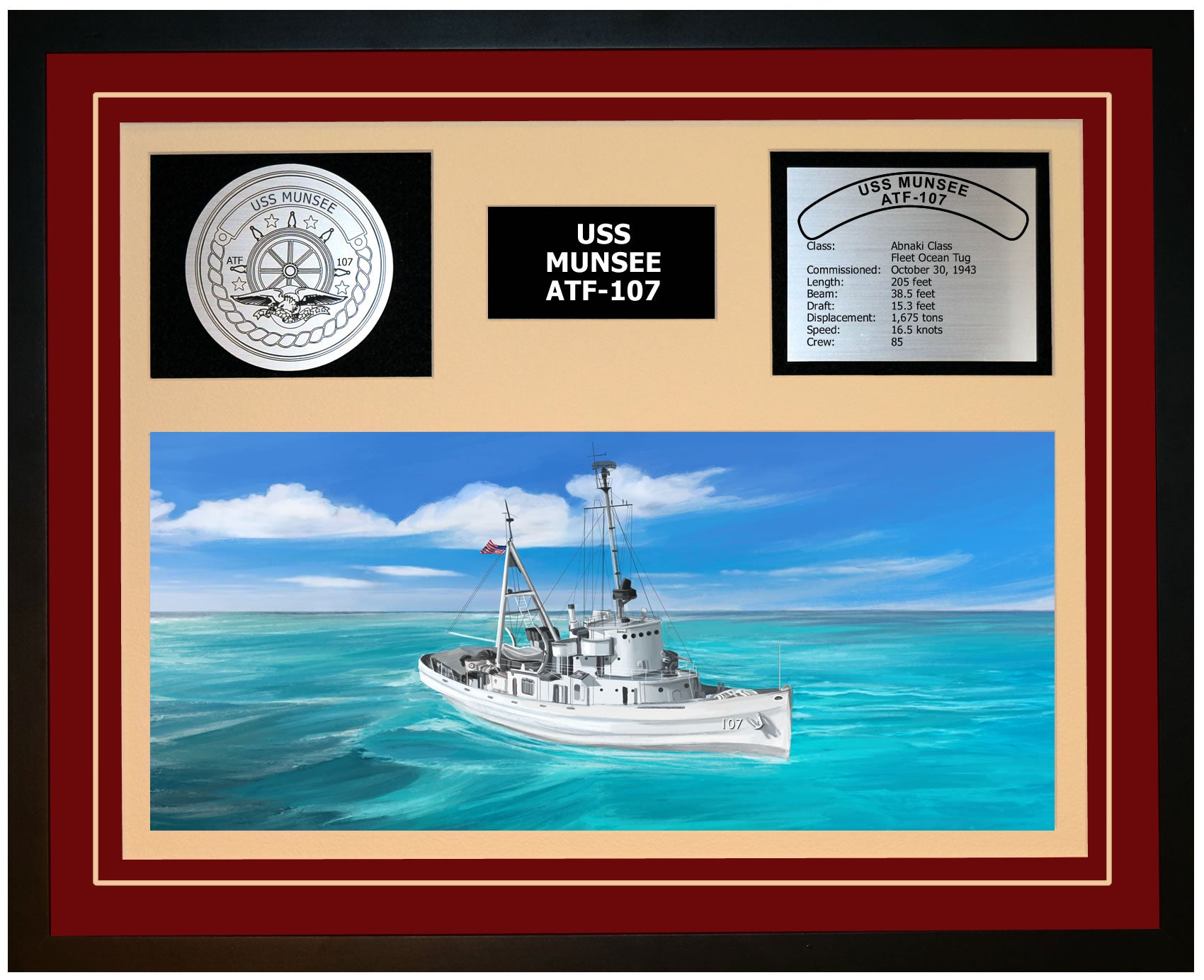 USS MUNSEE ATF-107 Framed Navy Ship Display Burgundy
