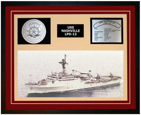 USS NASHVILLE LPD-13 Framed Navy Ship Display Burgundy