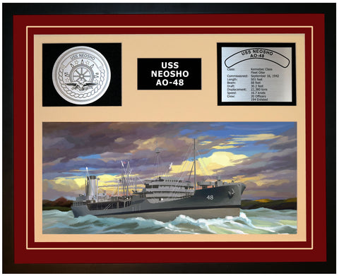 USS NEOSHO AO-48 Framed Navy Ship Display Burgundy